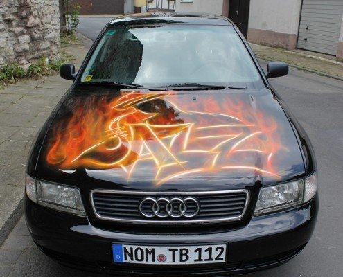 young art airbruch motorhaube feuer