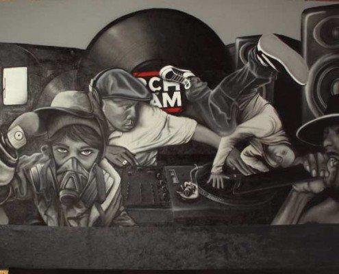 Airbrush und Graffiti Mischtechnik Club Gestaltung