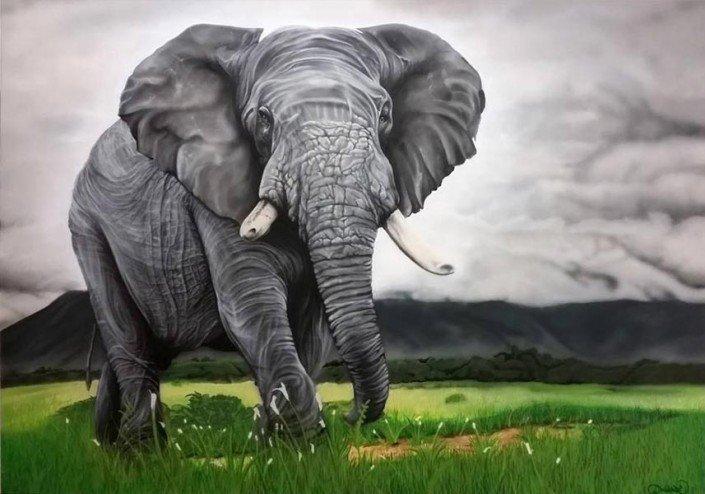 Afrikanischer Elefant auf Leinwand